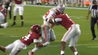 Alabama's Jordan Battle Gets Ejected From National Championship Game After Knocking Out Ohio State's Jeremy Ruckert With Vicious Hit