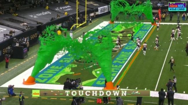 Nickelodeon Debuted The Touchdown Slime Cannons During Saints-Bears Playoff Game And It's Awesome