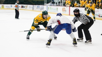 Alabama-Huntsville Hockey Had To Borrow Sweaters From A Michigan Club Team After Their Uniforms Got Stuck In Snow