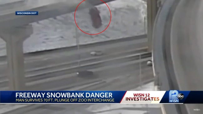 Pickup Launches And Falls 70 Feet Off A Snowy Wisconsin Overpass