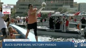Tom Brady Threw The Lombardi Trophy Over The River To Rob Gronkowski On Another Boat During Super Bowl Parade