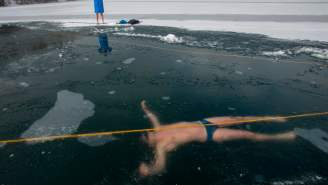 Watch This Free Diver Set A World Record Swimming 265 Feet Under A Frozen Lake