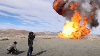 Two Guys Fire AK-47's At 15 Highly Explosive Propane Tanks To Create A Massive Fireball