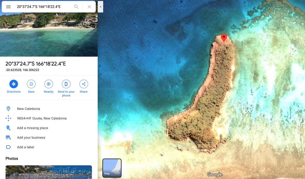 Dong shaped island on Google Maps