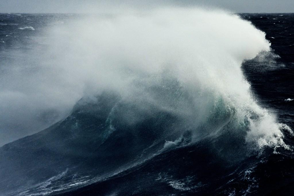 crashing storm waves in the Atlantic