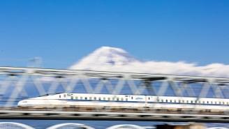 Japanese Super Train Obliterates Snow At 200 MPH