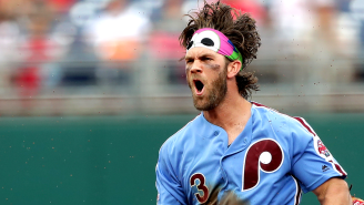 Bryce Harper Photographed Stopping For Gas Wearing His Full Phillies Uniform