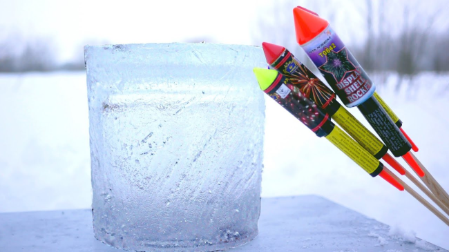 Guys Put Fireworks Inside A Block Of Ice Blow It Up In Slow Motion