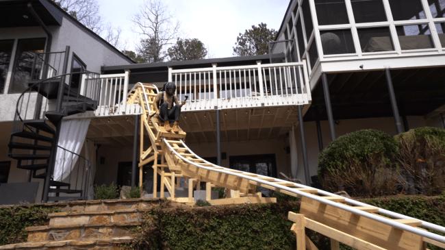 Teen Builds 100 Foot Long Roller Coaster In His Backyard