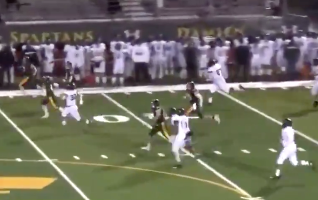A four-star tight end recruit named Keyan Burnett sprinted 85 yards to chase down an opposing player to prevent a touchdown