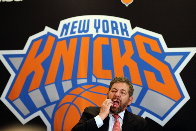 """A Knicks fan got escorted from Madison Square Garden for wearing a """"Ban Dolan"""" shirt, referencing the team's owner, James Dolan"""