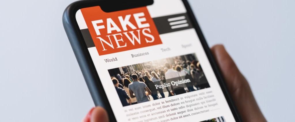 person reading fake news