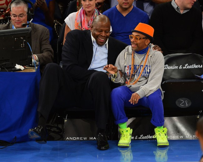 Diehard Knicks fan Spike Lee questions what's happening in Madison Square Garden after Patrick Ewing got stopped by security
