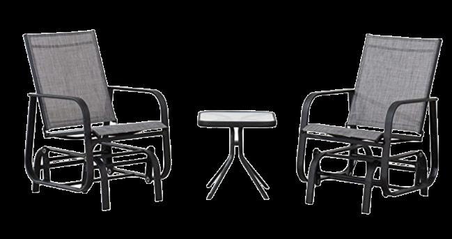 Amazon Basics 3-Piece Outdoor Patio Steel Glider Sling Chair Bistro Dining Set