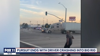 Big Rig Driver Puts An End To Police Chase By Ramming Murder Suspect's Vehicle
