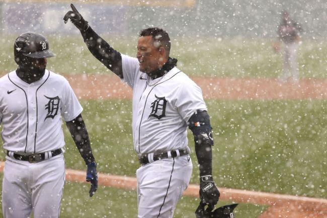 Miguel Cabrera Detroit Tigers Snow Cleveland Indians