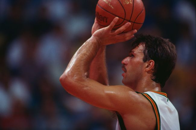 Lithuanian basketball player Sarunas Marciulionis playing for his national side against Venezuela at the Pavello Olimpic de Badalona, during the Olympic Games, Barcelona, Spain, 27th July 1992.