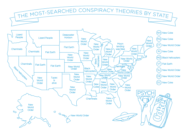 Map Of The Most Searched Conspiracy Theory In Every State