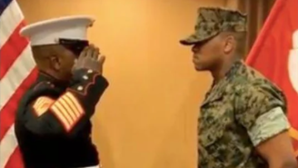 Marine Corps Master Sergeant Michael Fisher Gave His Son An Emotional First Salute In This Touching Video