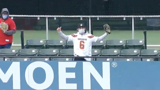 Fake Baker Mayfield Got UP For A Ridiculous Leaping Home Run Catch In The Centerfield Stands At The Indians Game