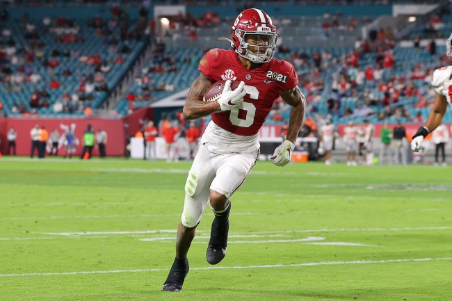 Former Alabama WR DeVonta Smith continues to clown the doubters about his size leading up to NFL Draft