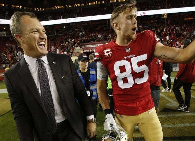 San Francisco 49ers tight end George Kittle punks team GM John Lynch with epic April Fools joke and response