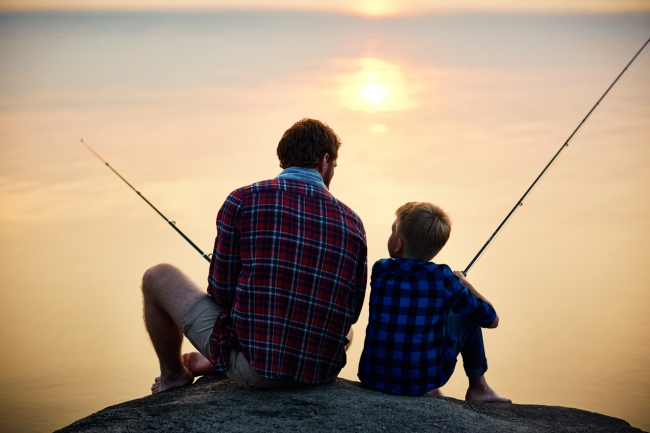 Dad Son Fishing