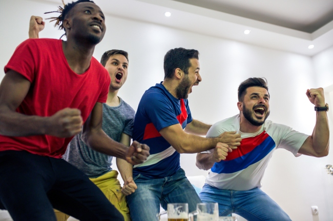 Sports Betting Fans Reacting Soccer Match