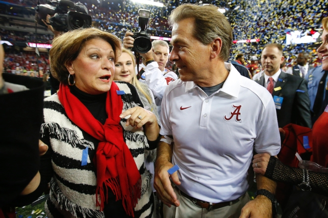 Alabama football head coach Nick Saban tells funny story about his pursuit of his now wife, and how she zinged him about her ex-boyfriend