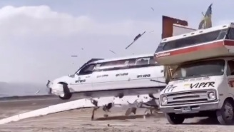 Watch: Stunt Driver Ramps A Limo Through An Old RV At 69 MPH (Nice)