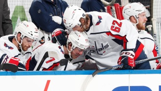 An Emotional T.J. Oshie Wipes Away Tears After Scoring Hat Trick In His First Game Since Father's Death