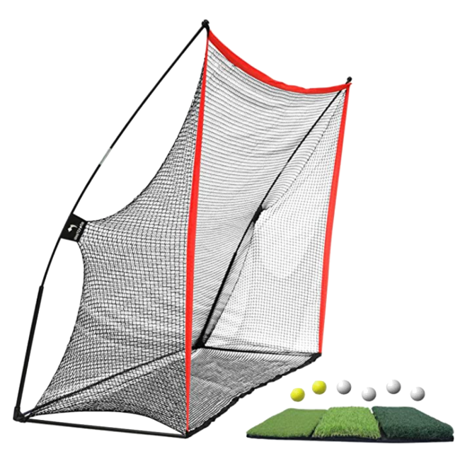 WhiteFang Golf Practice Net with Hitting Mat and Balls