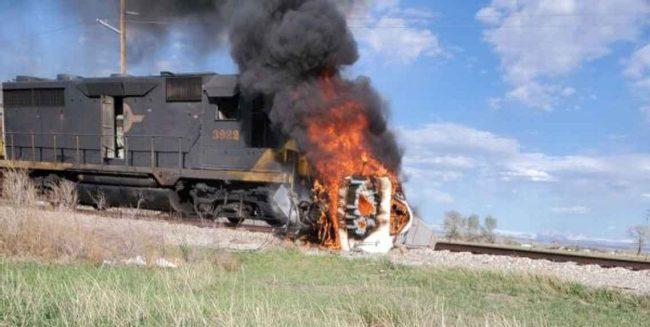 Fire Train Car Crash