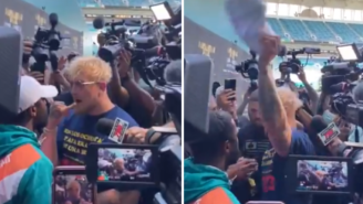 Floyd Mayweather Loses His Mind And Threatens To Kill Jake Paul For Snatching His Hat During Press Conference