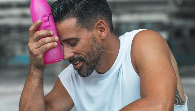 drinking pink fluids exercising workout hack