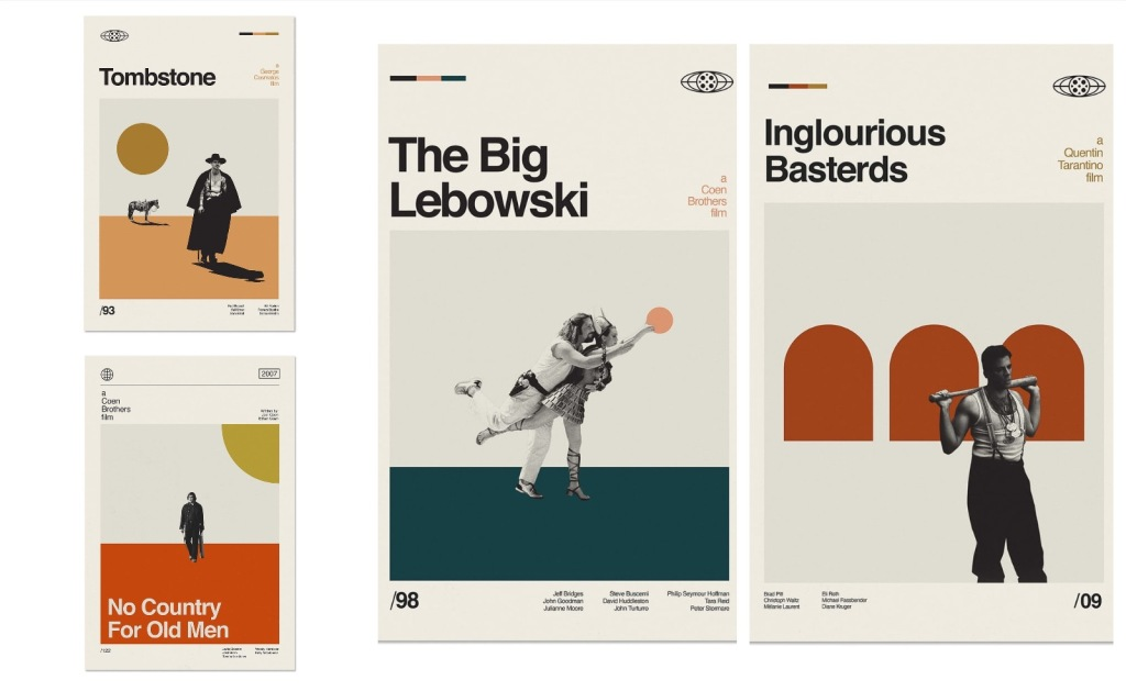 reimagined movie posters classics Big Lebowski Inglorious Basterds Tombstone