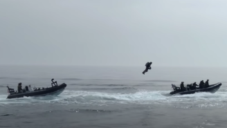 Royal Marine Goes Iron Man IRL And Uses A Futuristic Jet Suit To Board A Ship During A Military Exercise
