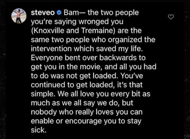 Steve-O calls out Bam Margera