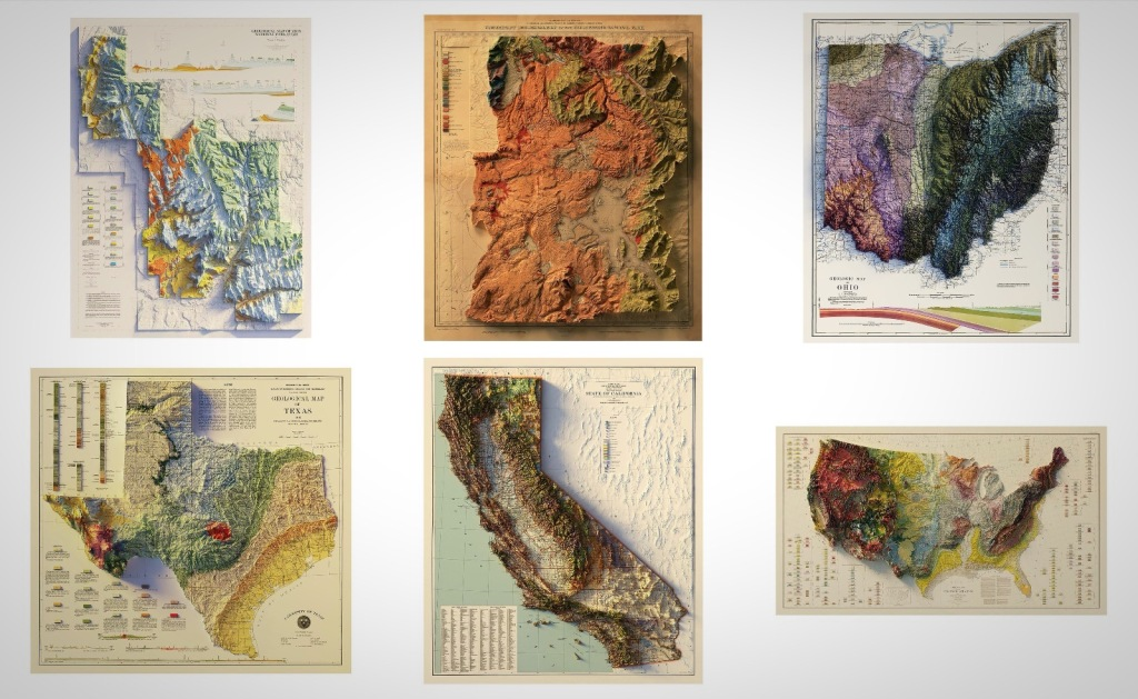 1900s geological relief maps USA states and parks