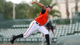 Baseball's Top Pitching Prospect Threw A Fastball So Nasty That It Broke The Glove Of Baseball's Top Catcher Prospect