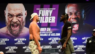 Tyson Fury Disrespectfully Calls Deontay Wilder A 'P—-Y' After Bizarre 5-Minute Long Staredown