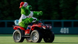 Phillie Phanatic Dressed Up Like Frank Sinatra And Smashed A Yankees Helmet, Giancarlo Stanton Was Not Impressed