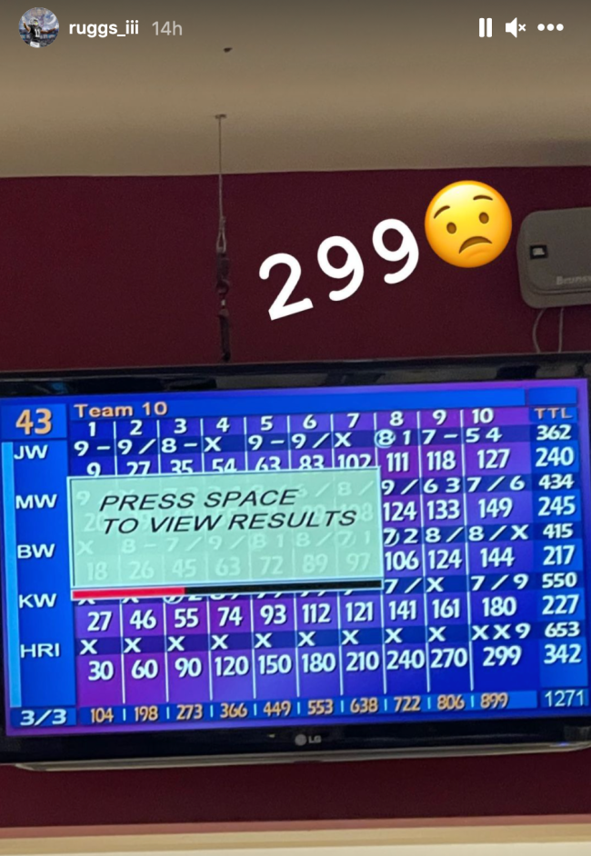 Henry Ruggs Bowling Perfect Game 299