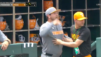 Baseball Coach Throws Epic Tirade, Gets Ejected In College World Series Loss, All Because Tennessee Is Cursed By Peyton Manning