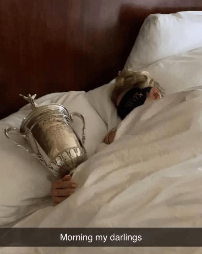 Jon Rahm Wife US Open Trophy
