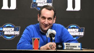 Coach K Walking Into His Retirement Presser To 'Everytime We Touch' Is The Cringiest Video Your Eyes Will Ever See