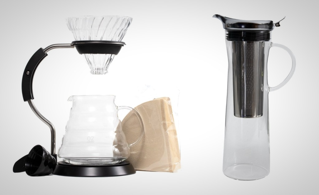 Coffee accessories Hario glass pour over and cold brew
