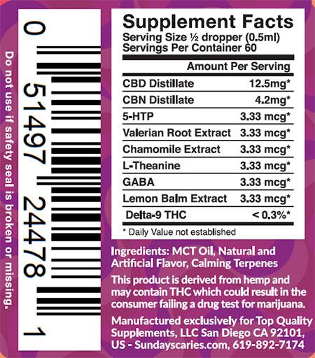 Sunday Scaries Big Spoon CBD Oil Ingredients
