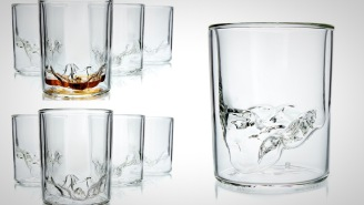 Check Out These Handblown Whiskey Glasses With A Topographic Impression Of Zion National Park