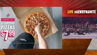 Domino's Is Pissed Because The AEW Ran The Perfect Ad After A Wrestler Got His Head Sliced By A Pizza Cutter